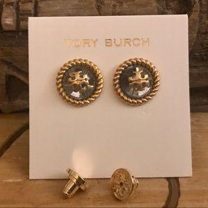 Tory Burch Gold-Tone Blue Glass Logo Stud Earrings